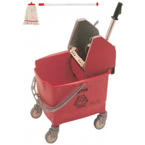 Rubbermaid Eimer und Mopppresse rot mit Kentucky Mopp rot und Besenstiel ECO rot