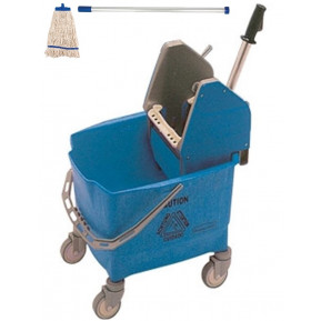 Rubbermaid Eimer und Mopppresse blau mit Kentucky Mopp blau und Besenstiel ECO blau