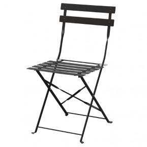 2 chaises en acier Bolero, noires, pliantes