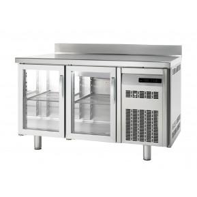 Table congélation Premium 2/0 avec portes en verre et dosseret