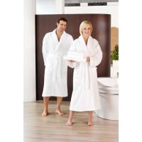 Peignoir de bain col châle, 2poches latérales, 100% coton, blanc, taille XXL