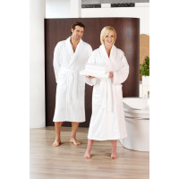 Peignoir de bain col châle, 2poches latérales, 100% coton, blanc, taille XXXL