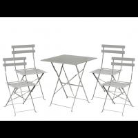 Stahlmöbelset Bolero grau mit Tisch und 4 Stühlen