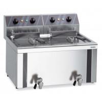 Friteuse électrique double Profi 12+12 l avec robinet de purge, 400 V