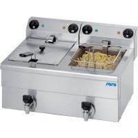 Saro Elektro-Doppel-Fritteuse Profi 10+10 Liter mit Ablasshahn | Kochtechnik/Fritteusen/Elektro-Fritteusen