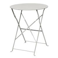 Table en acier Bolero, ronde, grise, pliante
