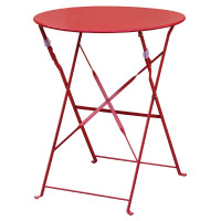 Table en acier Bolero, ronde, rouge, pliante
