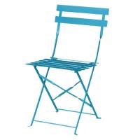 Stahlstühle Bolero azurblau klappbar (2 Stk.)