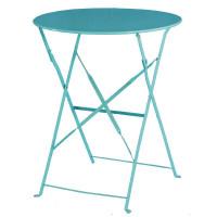 Table en acier Bolero, ronde, bleu ciel, pliante
