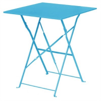 Table en acier Bolero, carrée, bleu ciel, pliante