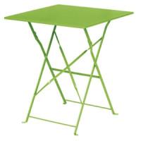 Table en acier Bolero, carrée, vert clair, pliante