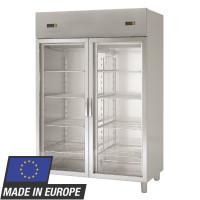Kühlschrank Profi 1400 GN 2/1 - mit 2 Aggregaten und 2 Glastüren | Kühltechnik/Kühlschränke/Edelstahlkühlschränke