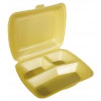 Boîte repas Papstar, en polystyrène expansé, 3compartiments, dorée – 100pièces
