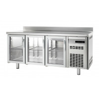 Table congélation Premium 3/0 avec portes en verre et dosseret