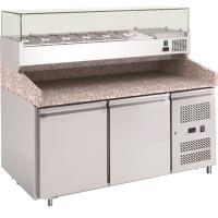 Pizzatisch ECO 2/0 mit Kühlaufsatz 7x GN 1/4 | Kühltechnik/Kühltische/Pizza-Kühltische