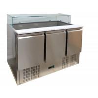 Saladette ECO 1300 mit 3 Türen und Glasaufsatz